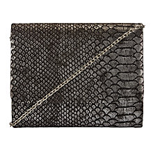 Buy John Lewis Babs Snake Clutch Bag, Gunmetal Online at johnlewis.com