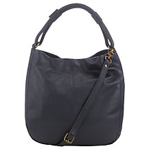 Buy John Lewis Stanley Leather Hobo Bag, Navy Online at johnlewis.com