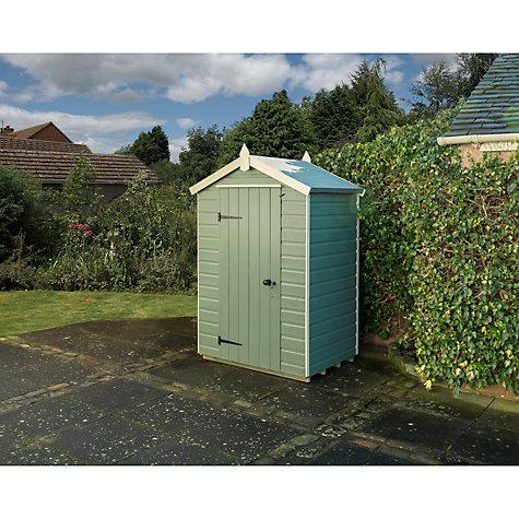 Buy rowlinson shiplap apex garden shed willow cream for Garden shed qatar