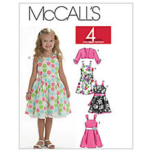 Buy McCall's Girls' Shrug, Dress and Belt Sewing Pattern, 6018 Online at johnlewis.com