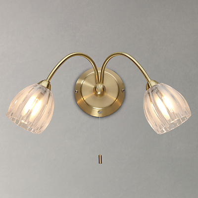 John Lewis Brooke 2 Arm Wall Light, Satin Brass