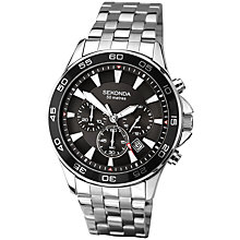 Buy Sekonda 1047.27 Men's Stainless Steel Chronograph Watch, Silver/Black Online at johnlewis.com
