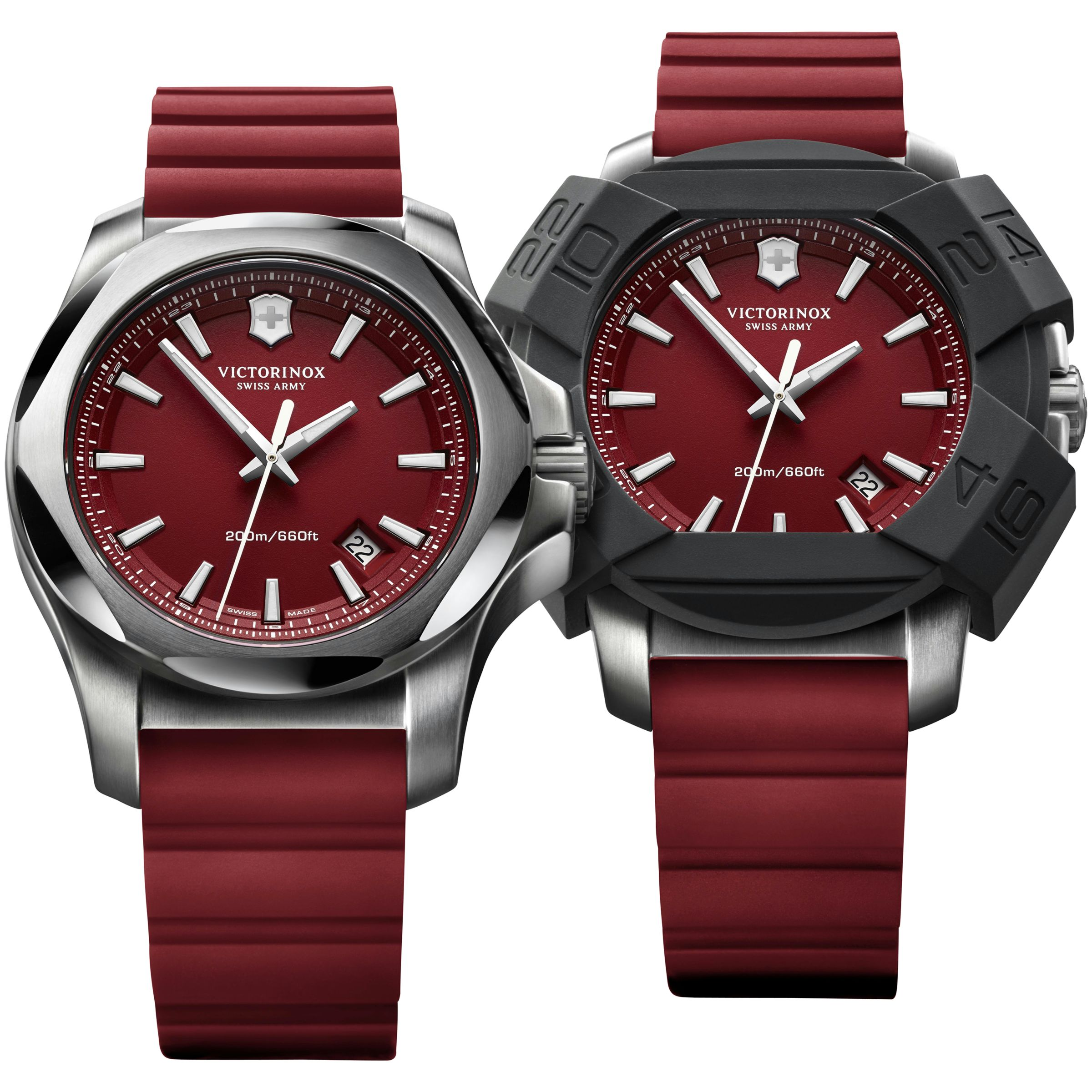 Victorinox Victorinox 241719.1 Men's I.N.O.X Rubber Strap Watch, Red