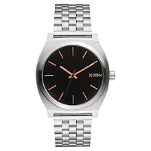 Buy Nixon A045-2064 Women's Time Teller Bracelet Watch, Silver/Black Online at johnlewis.com