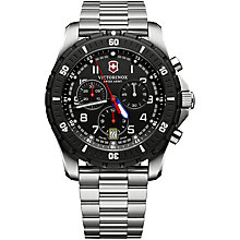 Buy Victorinox 241679 Men's Swiss Army Maverick Sport Chronograph Stainless Steel Bracelet Strap Watch, Silver/Black Online at johnlewis.com