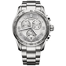 Buy Victorinox 241654 Men's Swiss Army Chrono Classic XLS Stainless Steel Bracelet Watch, Silver Online at johnlewis.com