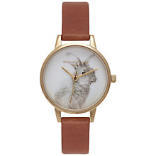 Buy Olivia Burton OB15WL42 Woodland Bunny Leather Strap Watch, Tan/Gold Online at johnlewis.com