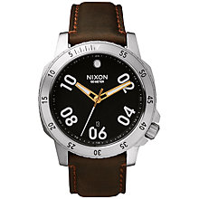 Buy Nixon A508-019 Men's Ranger Leather Strap Watch, Black/Brown Online at johnlewis.com