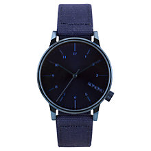 Buy Komono Men's Winston Heritage Canvas Strap Watch, Monotone Blue Online at johnlewis.com