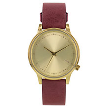 Buy Komono KOM-W2452 Women's Estelle Classic Stainless Steel Leather Strap Watch, Burgandy Online at johnlewis.com