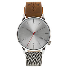Buy Komono Men's Winston Galore Leather/Fabric Wrist Watch, Walnut/Herringbone Online at johnlewis.com