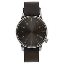 Buy Komono Men's Winston Regal Leather Strap Watch, Black Online at johnlewis.com