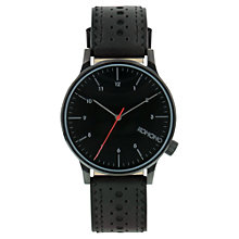 Buy Komono Men's Winston Brogue Leather Strap Watch, Jet Black Online at johnlewis.com