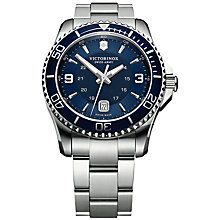 Buy Victorinox 241602 Men's Swiss Army Maverick Stainless Steel Bracelet Strap Watch, Silver/Blue Online at johnlewis.com
