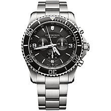 Buy Victorinox 241695 Maverick Chronograph Bracelet Watch, Black/Silver Online at johnlewis.com