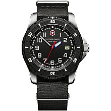 Buy Victorinox 241674.1 Men's Swiss Army Maverick Sport Stainless Steel Fabric Strap Watch, Black Online at johnlewis.com