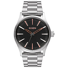 Buy Nixon A450-2064 Men's Sentry 38 SS Watch, Silver/Black Online at johnlewis.com