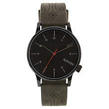 Buy Komono Men's Winston Brogue Leather Strap Watch, Charcoal Online at johnlewis.com