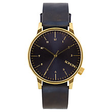 Buy Komono Men's Winston Regal Leather Wrist Watch, Blue Online at johnlewis.com