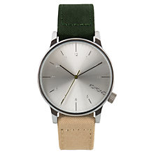 Buy Komono Men's Winston Heritage Canvas Strap Watch, Multitone Green Online at johnlewis.com