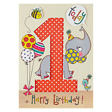 Buy Rachel Ellen Age 1 Elephant Birthday Card Online at johnlewis.com