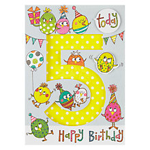 Buy Rachel Ellen Age 5 Party Bird Birthday Card Online at johnlewis.com