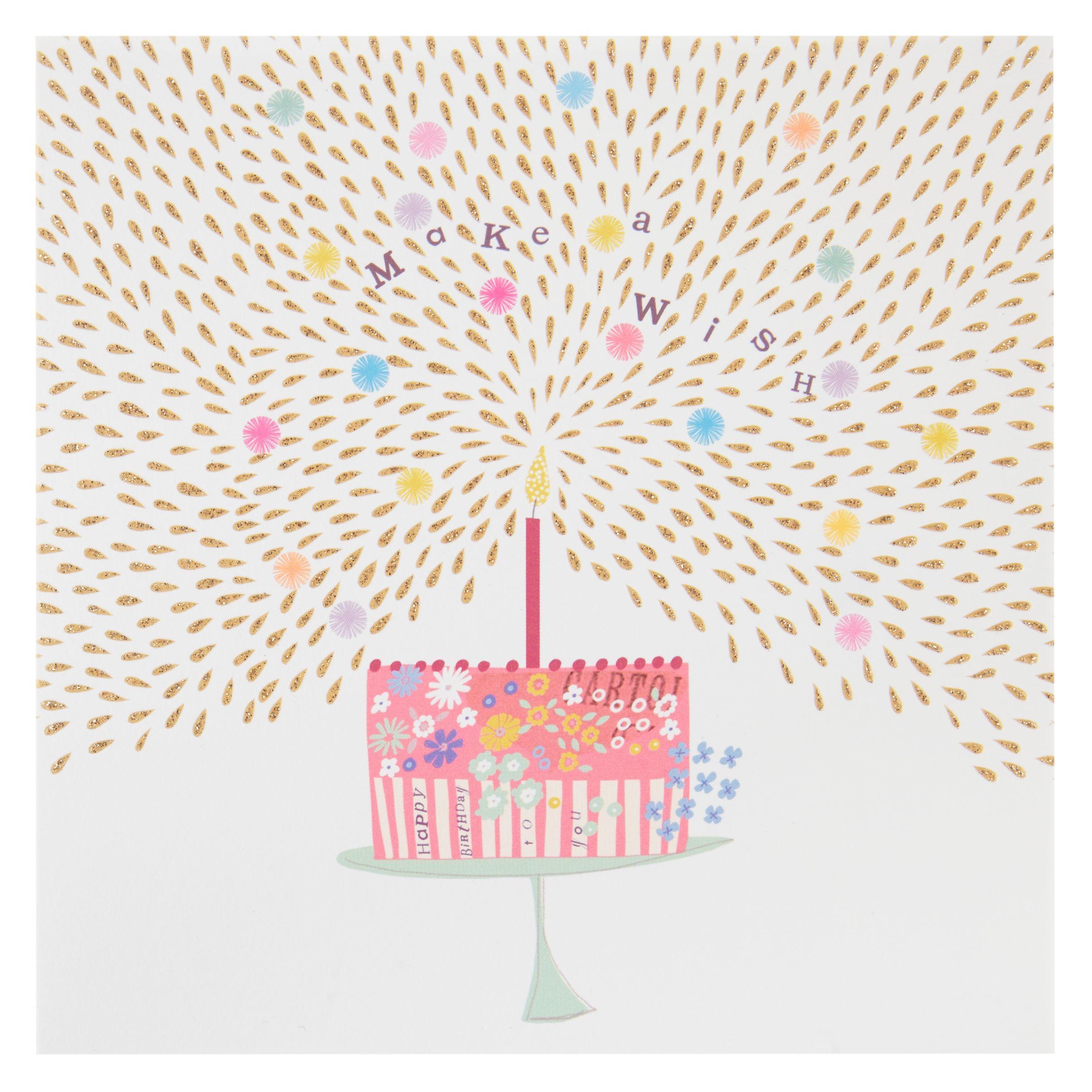 Birthday Cake John Lewis : Buy Woodmansterne Make A Wish Cake Birthday Card John Lewis