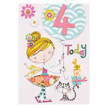 Buy Rachel Ellen Fidget Age 4 Girl Birthday Card Online at johnlewis.com