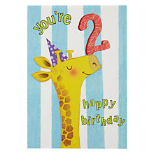 Buy Woodmansterne Giraffe 2nd Birthday Card Online at johnlewis.com