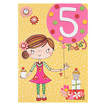 Buy Rachel Ellen Fidget Age 5 Girl Birthday Card Online at johnlewis.com