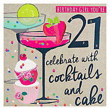 Buy Hammond Gower Cocktails 21st Birthday Card Online at johnlewis.com