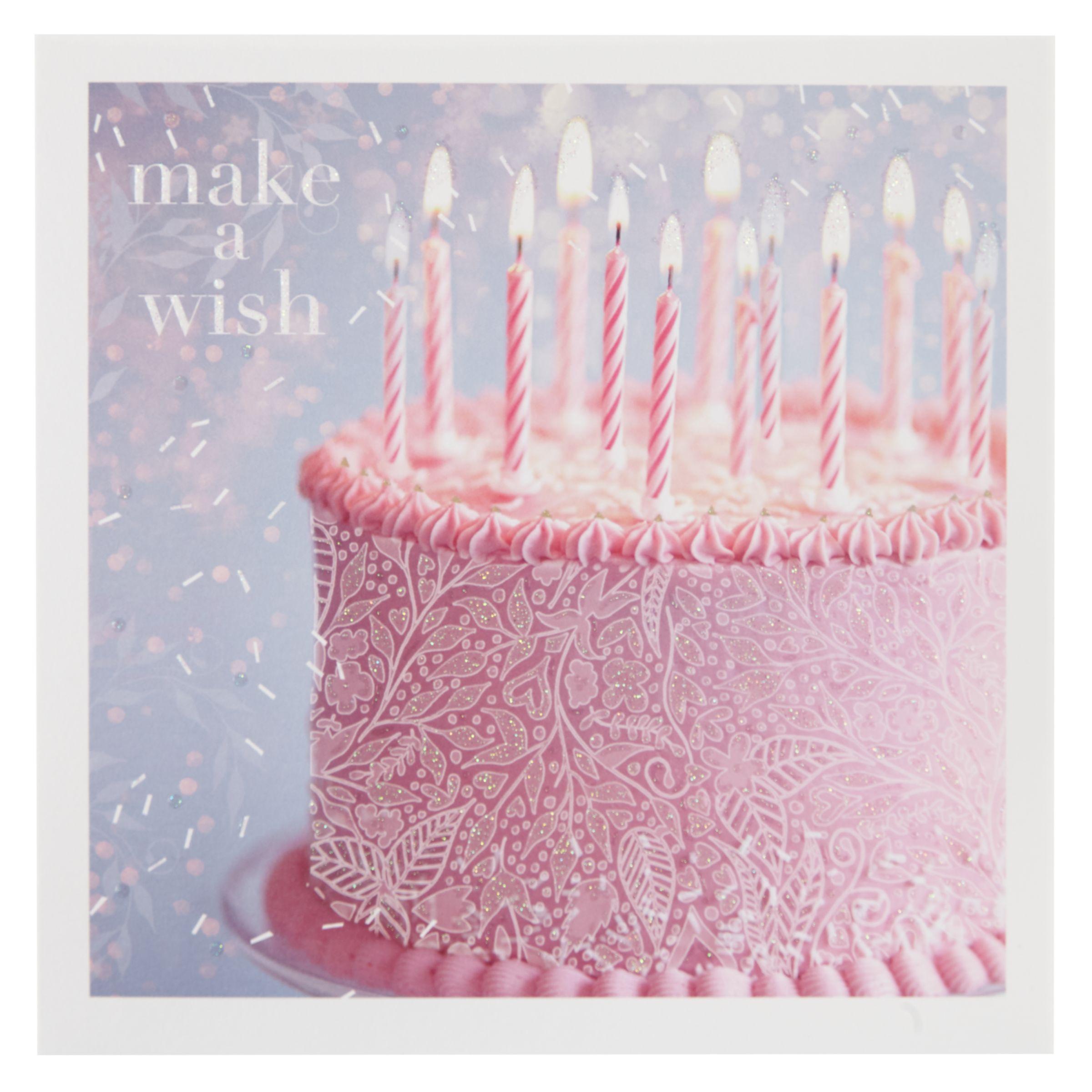 Birthday Cake John Lewis : Buy Woodmansterne Pink Make a Wish Cake Birthday Card ...