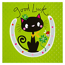 Buy Rachel Ellen Good Luck Cat Greeting Card Online at johnlewis.com