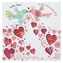 Buy Paper Rose Birds Anniversary Card Online at johnlewis.com