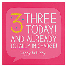 Buy Happy Jackson Three Today Birthday Card Online at johnlewis.com