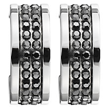 Buy Dyrberg/Kern Kimmie Hemtite Swarovski Crystal Hoop Earrings, Silver/Black Online at johnlewis.com