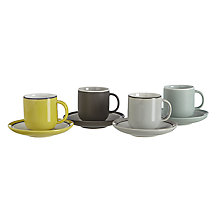 Buy John Lewis Puritan Set 4 Espresso Cups and Saucers Online at johnlewis.com