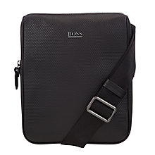 Buy BOSS Hartik Leather Flight Bag, Black Online at johnlewis.com