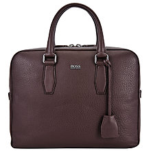 Buy BOSS Malton Leather Briefcase, Burgundy Online at johnlewis.com