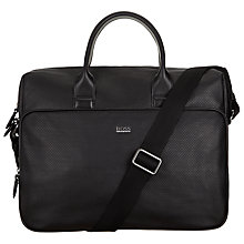 Buy BOSS Hilun Leather Briefcase, Black Online at johnlewis.com