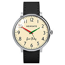 Buy Newgate WWLCLBVS002LK Unisex Club Stainless Steel Leather Strap Watch, Black/Cream Online at johnlewis.com