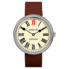 Buy Newgate WWLKNGVS018LB Unisex King Vintage Stainless Steel Leather Strap Watch, Brown/Cream Online at johnlewis.com