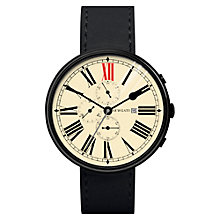 Buy Newgate WWLSHPK021LK Unisex Ship Chronograph Stainless Steel Leather Strap Watch, Black/Cream Online at johnlewis.com