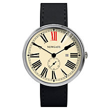 Buy Newgate WWLSHPVS020LK Unisex Ship Vintage Stainless Steel Leather Strap Watch, Black/Cream Online at johnlewis.com