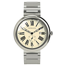 Buy Newgate WWLLBTVS017BVS Unisex Grand Liberty Vintage Stainless Steel Bracelet Strap Watch, Silver/Cream Online at johnlewis.com
