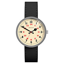 Buy Newgate WWMDRMVS005LK Unisex Drummer Vintage Stainless Steel Leather Strap Watch, Black/Cream Online at johnlewis.com