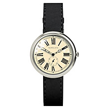 Buy Newgate WWSLBTVS015LK Unisex Liberty Vintage Stainless Steel Leather Strap Watch, Black/Cream Online at johnlewis.com
