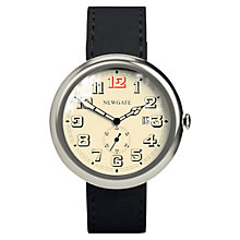 Buy Newgate WWLLBTVS016LK Unisex Grand Liberty Stainless Steel Leather Strap Watch, Black/Cream Online at johnlewis.com