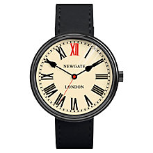 Buy Newgate WWLKNGK018LK Unisex King Stainless Steel Leather Strap Watch, Black/Cream Online at johnlewis.com