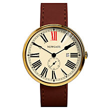 Buy Newgate WWLSHPVB020LB Unisex Ship Stainless Steel Leather Strap Watch, Tan/Cream Online at johnlewis.com